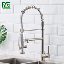 Kitchen Faucet Brushed Nickel Faucet 360 Degree Rotating Kitchen Tap Brass Single Lever Deck Mounted 2 Outlet Spring Taps