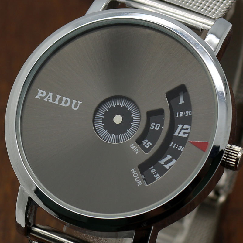 Special Design Fashion Turntable Dial PAIDU Net Mesh Steel Band Wrist Quartz Watch Men Women Relogio Masculino Male Clock Gift fashion cool simple creative leather band strap special turntable dial design casual minimalist men women analog wrist watch
