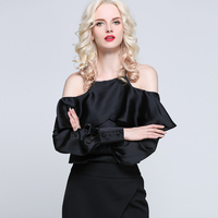 Guoran Sexy Women Summer Blouses Off Shoulder Ruffled Long Sleeve Femme Blusas White Pink Black