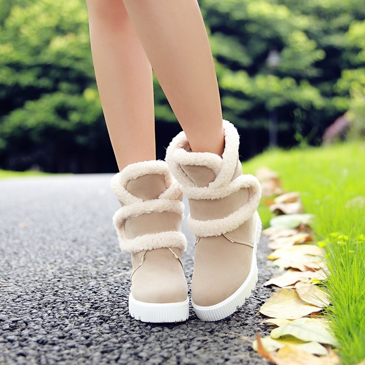 ФОТО 2015 New Women's Shoes Fashion Round Toe Flat Heel Women Ankle Boots Warm Plush Winter Snow Boots Plus Size
