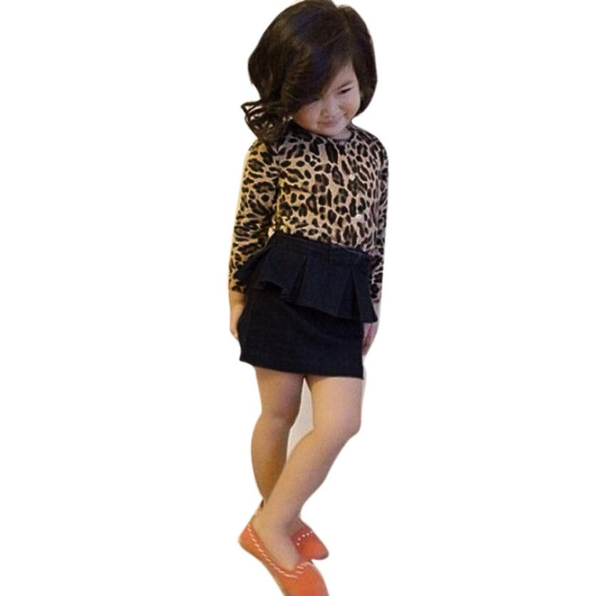 Soft and Comfortable 2Pcs Kids Baby Girls Leopard Long-Sleeved T-Shirt Tops+Jean Skirt Clothes Set roupas infantis menina