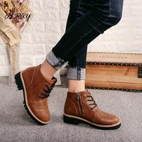 2019 new autumn and winter comfort Vintage Martin boots British style chunky heel boots Plus velvet flat student Women's shoes