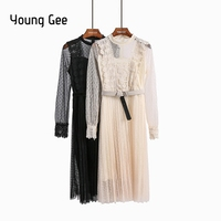 Young Gee Lace Floral Women Dress Polka Dots Long Sleeve Cute Party O neck Knee length Trunic Pleated Dresses Evening Vestidos