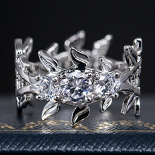 HUITAN Fancy Ring Band For Ladies Rattan Design Fashion Wedding Engagement Rings Twig Leaf Shaped Women Hot Selling