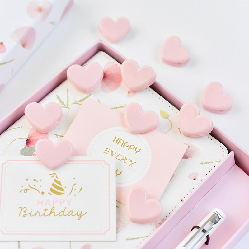 4pcs/lot Mohamm Pink Heart Cute Binder Photo Decorative Paper Clips Binder Stationery Paperclips