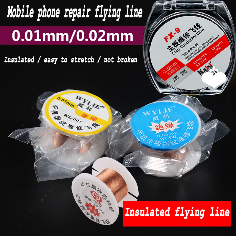 Original 0.01mm / 0.02mm Insulation Pure Copper Wire Fly Line For  For IPhone  And Computer Logic Board Repair Jump Line