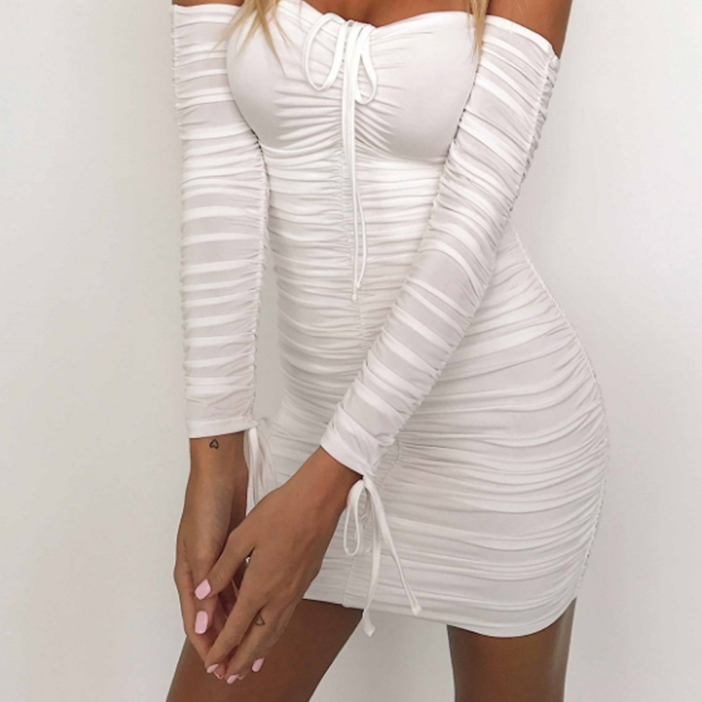 Women Dresses Long Sleeve Off Shoulder Dress Knitted Pure Color Casual Knee Length Tight