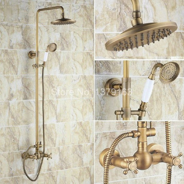 Antique Brass Dual Cross Handles Rain Bathroom Shower Faucet Set + ...