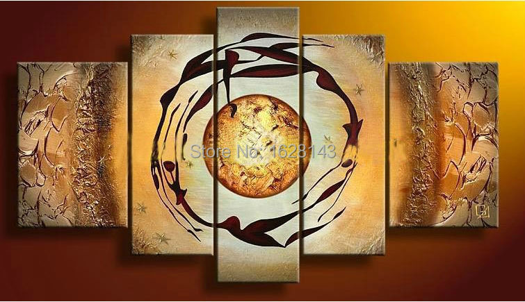 multi panel canvas wall art set yellow modern abstract oil paintings on  canvas hand painted home decorative picture 5 piece