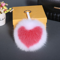 Luxury English Letters Super Big 15cm Real Fluffy Fox Fur Pom Pom Keychain Pendant Women Handbag Bag Charms Key Holder Llaveros