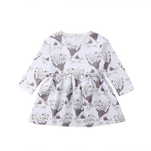 Christmas Infant Kid Baby Girl Clothes Dresses Costume Party Floral Print Sleeve Mini Cute Dress Girls 6M-5T cute round collar 3 4 sleeve floral print dress for women