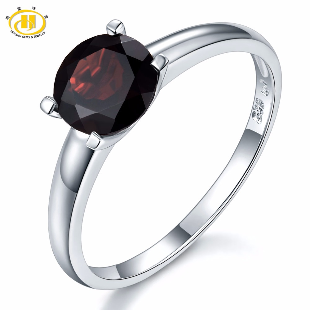 HUTANG Round 1.6ct Natural Black Garnet Rings 925 Sterling Silver Ring Gemstone Fine Fashion Jewelry For Women's Best Gift New