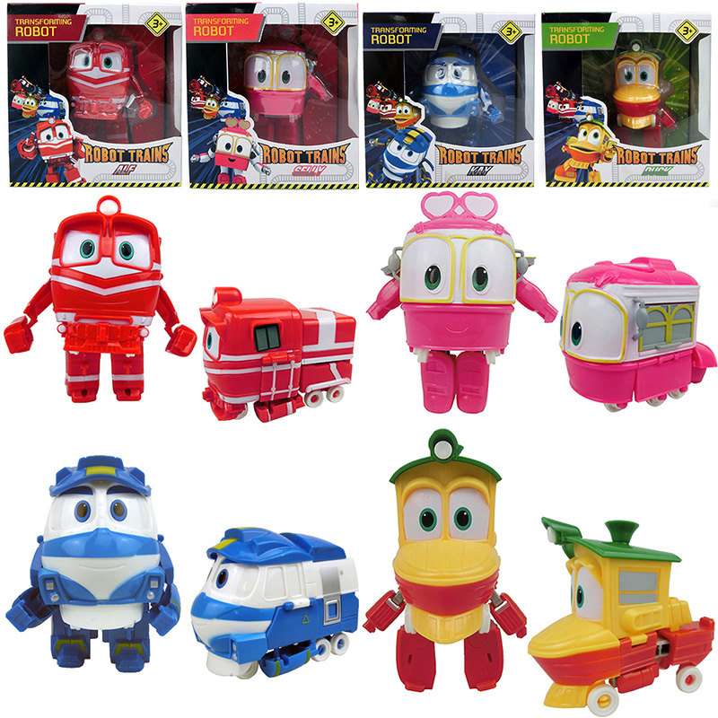 4pcs/set 13cm Robot Trains Transformation Kay Alf Dynamic Train Family Deformation Train Car Action Figure Toys Doll for Boys