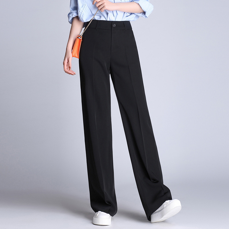 2019 spring and summer suit   pants   high waist   wide     leg     pants   female Korean version of the casual straight   wide     leg     pants   women