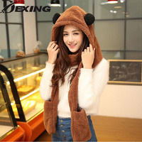 [Dexing]Womens panda hat fur hood scarf Mens Hat Ear Flaps Hand Pockets Hat Plush Winter Warm Cap with Long Scarf Mittens Gloves