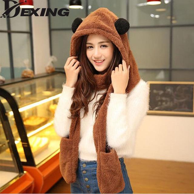 [Dexing] womens panda chapéu de pele cachecol capuz mens abas do chapéu de ouvido mão bolsos Inverno Quente Cap Chapéu de Pelúcia com Luvas Longas Echarpe Mittens