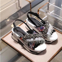 Fashion Bling Tassl &fur Women Summer Sandals Sexy Platform Wedges High Heels Pumps Runwya Gladaitor Outfit Shoes Woman 2018
