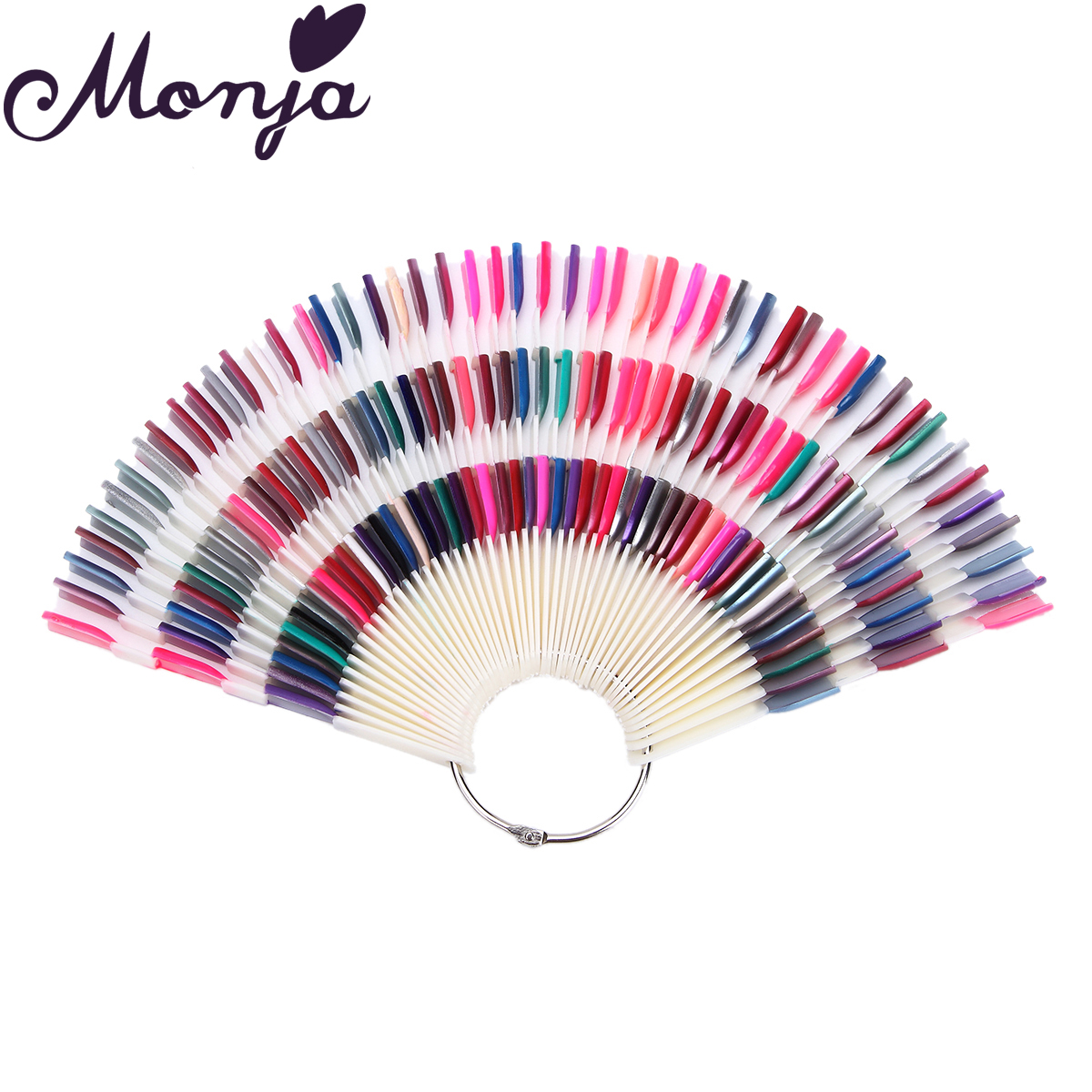 Monja 150pcs Nail Art Fan Shape Display Natural Chart Gel Polish Coloring Sample Practice Training Nails With Removable Ring