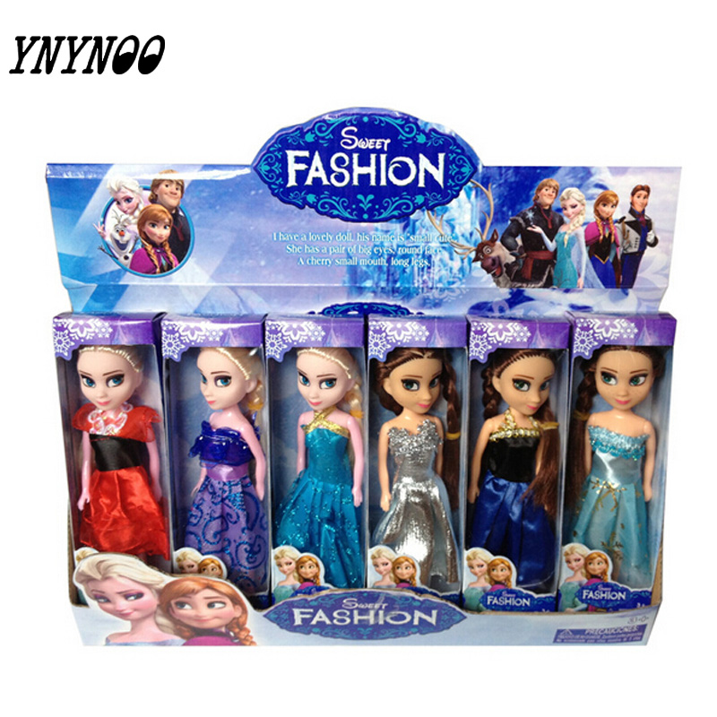 (YNYNOO)High Quality 6PCS/Lot Boneca 17cm Elsa Doll Girls Toys Fever 2 Princess Anna And Elsa Dolls Clothes For Dolls Children