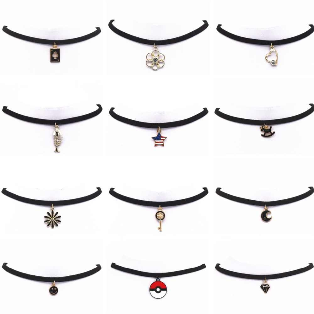 Hot New Torques Bijoux Plain Black Velvet Leather Crystal Pendant Maxi Statement Chokers Necklace For Women 2018 Jewelry