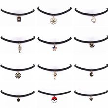 Hot New Torques Bijoux Plain Black Velvet Leather Crystal Pendant Maxi Statement Chokers Necklace For Women 2018 Jewelry(China)