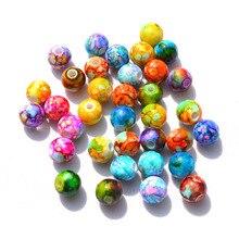 Поделки браслет отделы цветной рисунок разноцветные окрашенные бусины 10 мм круглые акриловые бусины с цветочным принтом ювелирные изделия