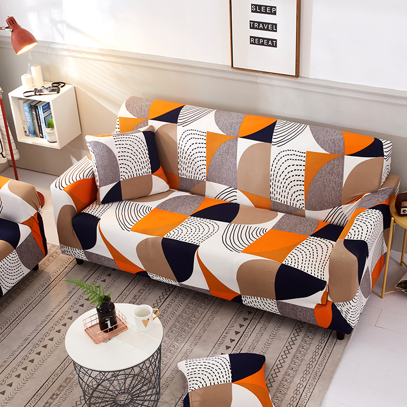 Geometric Elastic Sofa Cover Two and Three Seats Modern Living Room Slipcover Stretch Furniture Case L Shaped Corner Couch Cover