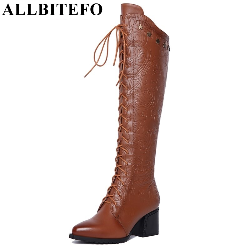 ALLBITEFO Fashion print pointed toe sexy women knee high boots genuine leather +PU high heel boots winter warm snow boots women цена 2017