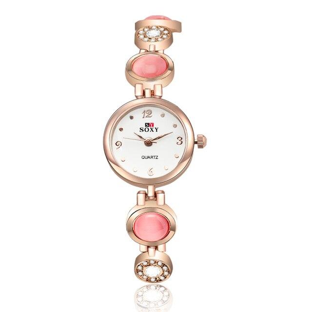 SOXY Luxury Brand Rose Gold Dress Watches Women Crystal Bracelet Watch Quartz La