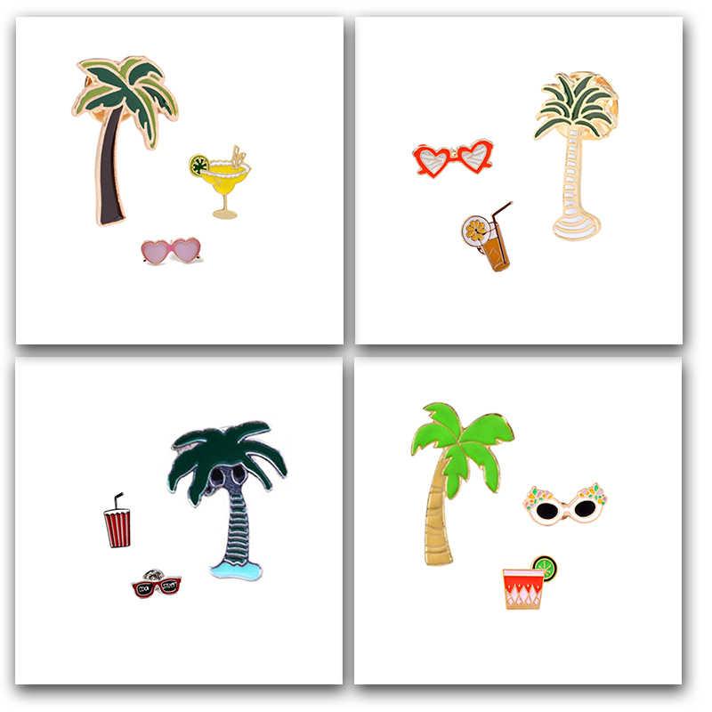 3 Pieces/set Baru Pohon Kelapa Kacamata Jus Kartun Bros untuk Wanita Gaya Pantai Bros Perhiasan Pin Hat Kerah Lencana Hadiah
