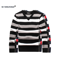 2017 England style men's new V-neck striped  long-sleeved sweaters casual 100% cotton mens clothing slim mens sweater M-3XL