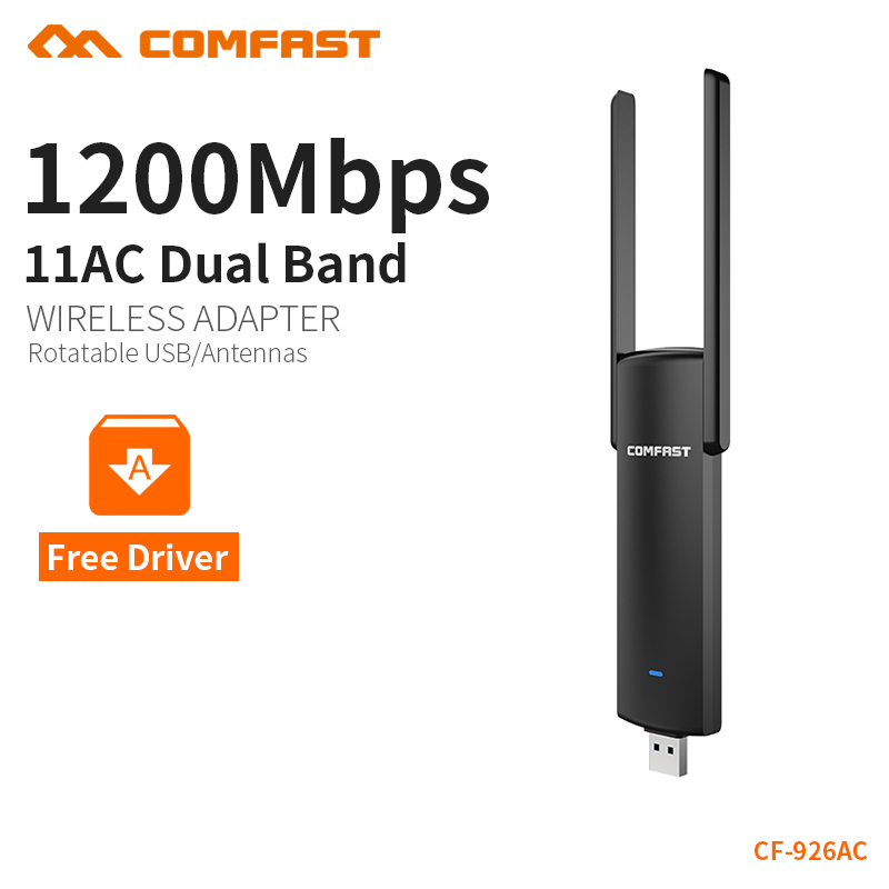 COMFAST usb wifi adapter 1200mbps 802.11ac/b/g/n 2.4Ghz + 5.8Ghz Dual Band wi-fi dongle AC Network Card USB antenna CF-926AC купить в Москве 2019