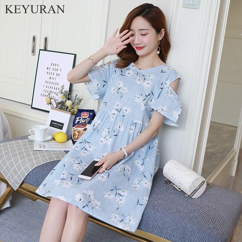 Summer Print Maternity Dress Cotton Linen Off the Shoulder for Pregnant Clothes Women Pregnancy Clothing Zwangerschap Jurken