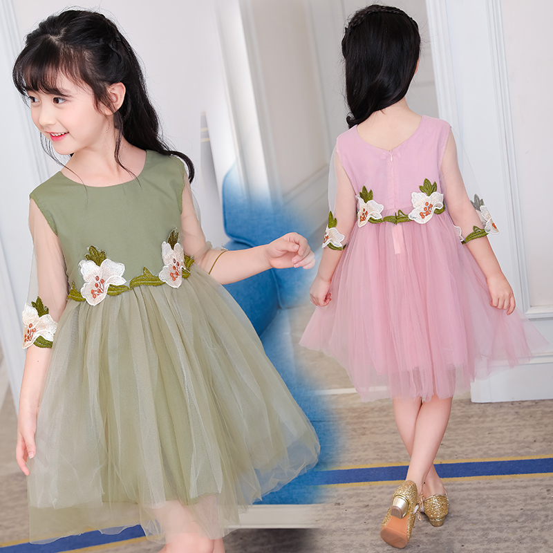 2017 New Luxury Flower Girls Party Dress Embroidered Formal Bridesmaid Wedding Girl Beautiful Princess Ball Gown Birthday Dress kids girls bridesmaid wedding toddler baby girl princess dress sleeveless sequin flower prom party ball gown formal party xd24 c