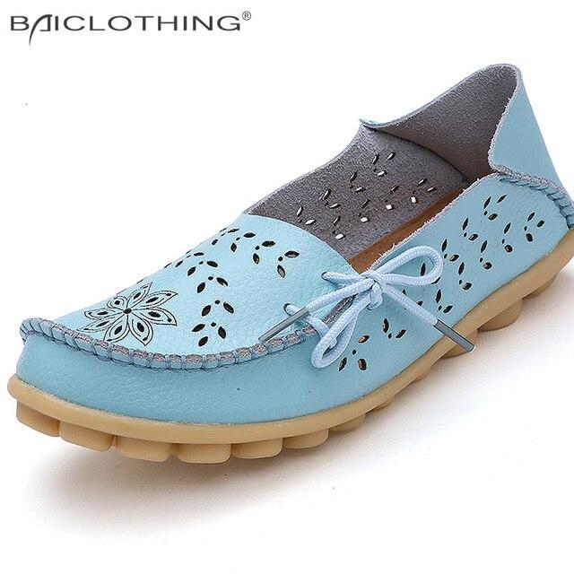Плюс Размер 34-44 Женская Мода 2017 Лето Выдалбливают Квартиры Обувь Скольжения на Комфорт Повседневная Обувь Женские ленивый Обувь