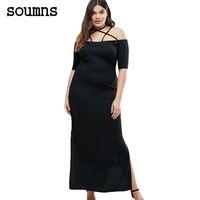 Soumns נשים להקת מצב זומר meshmateriaal vrouwen סקסי צד סדק שמלת מקסי השחורה uit דה לנגה schouder בתוספת גודל zwart LC61465