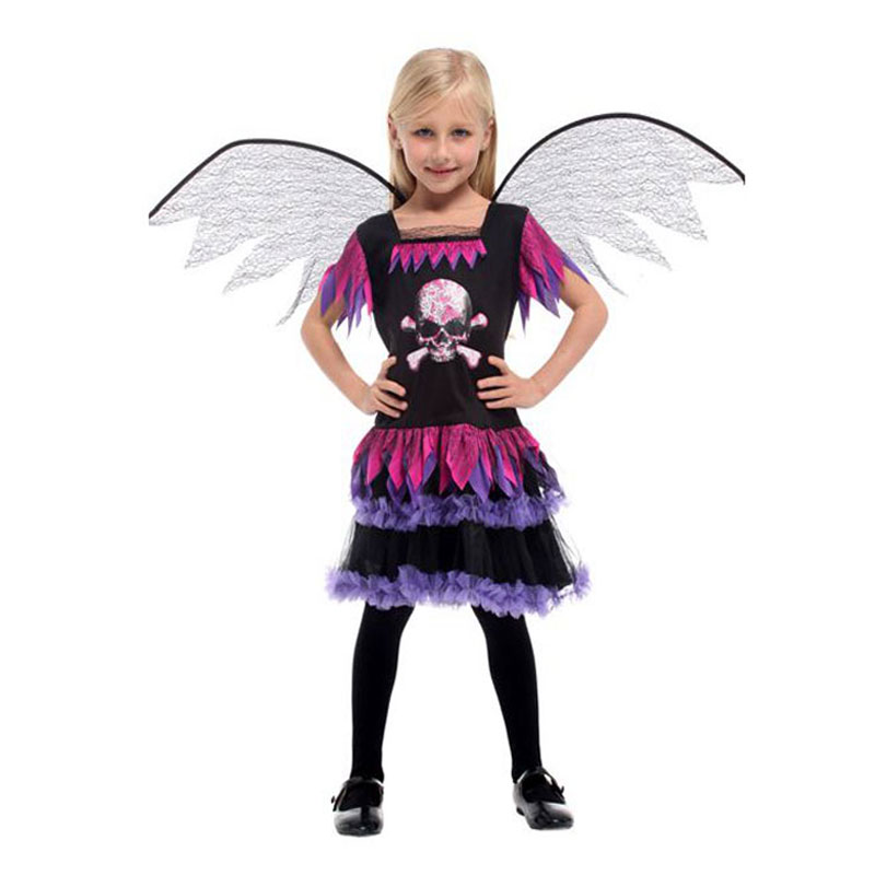 Umorden Purim Children's Day Halloween Angel Costume for Girls Black Skull Angel Wing Costumes Fancy Cosplay Dress