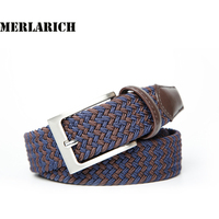 Elastic Belts For Men Knitted Woven Braided Fabric Stretch Belts Leather For Women Freeshipping