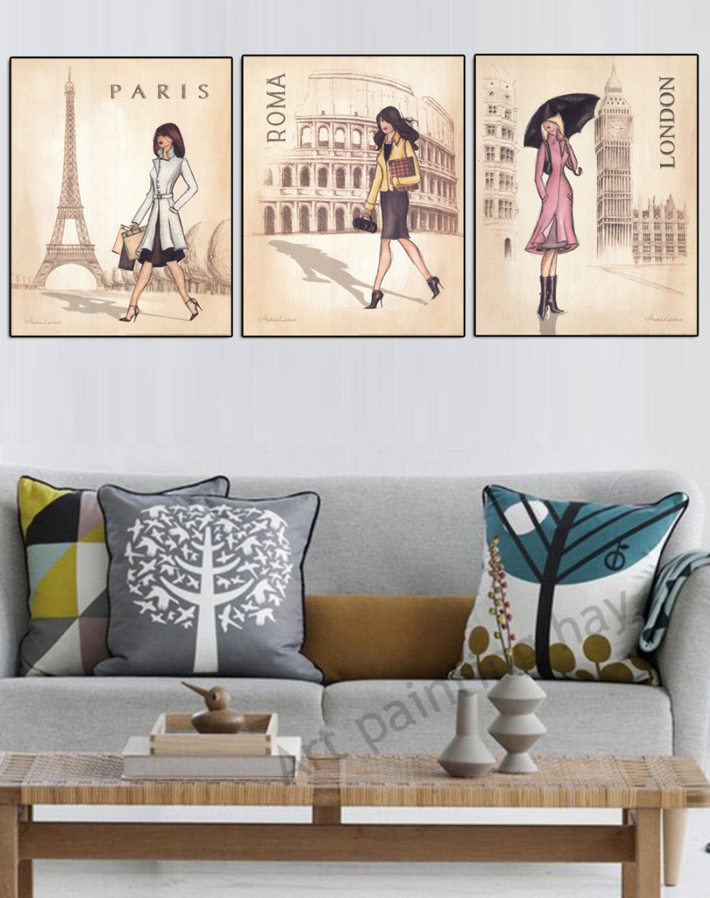 3 piece wall art canvas new york paris london painting living room ...