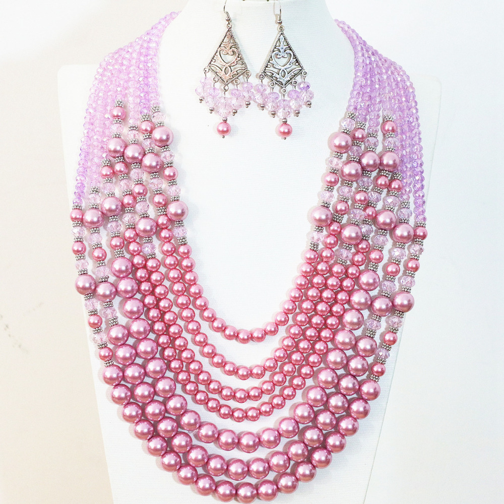 Fashion women necklace earrings 7 rows dark pink round shell simulated-pearl crystal high grade elegant jewelry set B1298