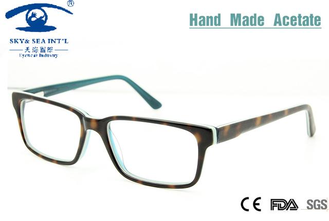 2015 Óculos de grau Mulheres Multi Colorido Feitos À Mão Retangular Óculos Frames oculos Homens Óculos Simples Óculos de Rx