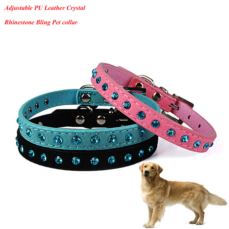 Hot Sale PU Leather Dog Collar Adjustable Crystal Rhinestone Bling Collars For Pets Accessories Drop Shipping