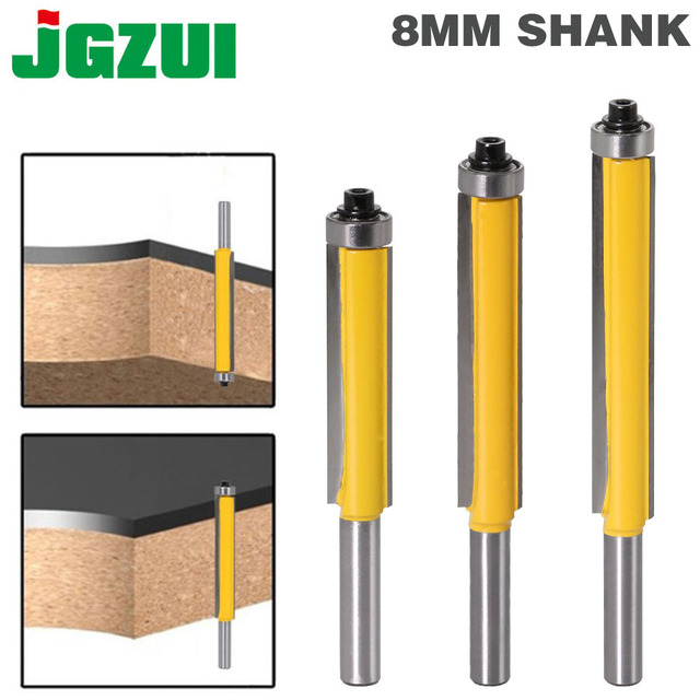 "1 pc 8mm Shank 2 ""Flush Trim Router Bit พร้อมแบริ่งสำหรับไม้แม่แบบแม่แบบบิตทังสเตนคาร์ไบด์เครื่องตัดไม้ 02017"