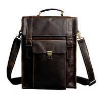 Imported Crazy Horse Leather Genuine Leather Double Shoulder Computer Bags Retro Men Large Capacity 14 Inch Backpack Laptop Bags