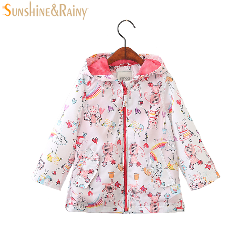 Spring Kids Jacket Cotton Cartoon Printing Girls Outerwear Coat Children Clothes For Baby Girls Clothing Coats Costume 2-9Y