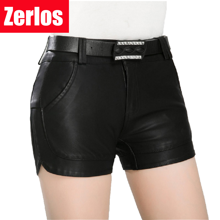 Free Shipping 2017 new arrival Women's spring Fashion PU Leather   Shorts   Lady's Mid-Waist   Short   sexy