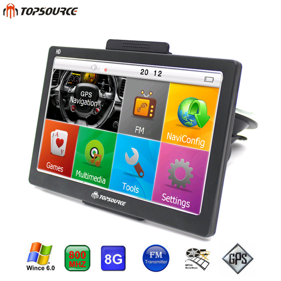 TOPSOURCE HD 7'' Car GPS Navigation navigator FM WinCE 6.0 8GB 800MHZ Map Free Upgrade Spain/Europe/USA+Canada Truck GPS Sat nav new 7 inch hd car gps navigation fm bluetooth avin map free upgrade navitel europe sat nav truck gps navigators automobile