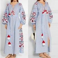 Bahar Kış Elbise Kadın Uzun Kollu Bohemain Elbise Moda Püskül Mavi Uzun Elbise Işlemeli Boho Maxi Elbise