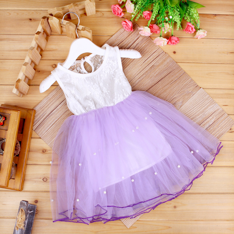 dětské šaty pro dívky Vesta pletací prošívaná perlička oblázková princezna šaty evropský styl léto dětské oblečení 1-5 let