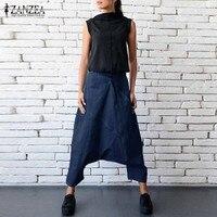 ZANZEA 2017 Mid Elastic Waist Zipper Drop Crotch Denim Long Harem Pant Pockets Casual Autumn Blue